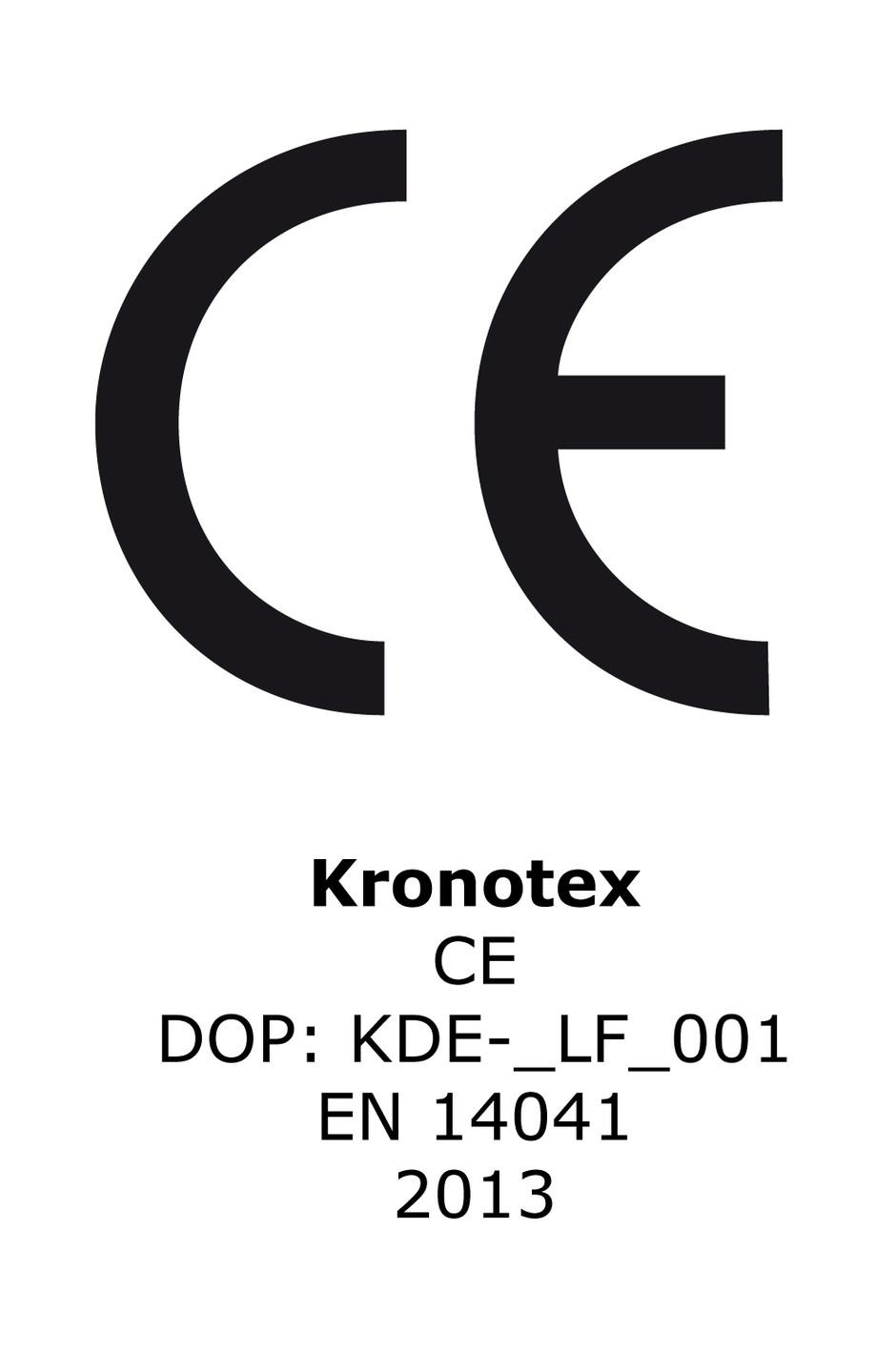 CE Certificate EN 14041 2006